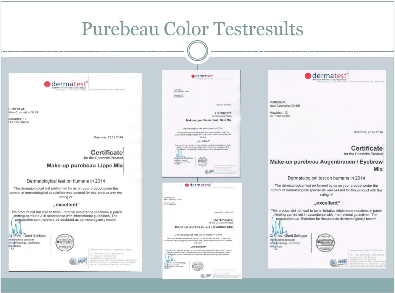 Purebeau Color Testresults